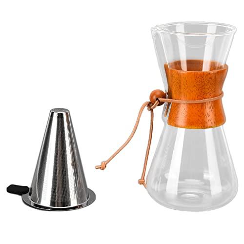 Młynek do Kawy, 550 Ml Przelewowy Kroplownik do Kawy Bambusowy Klasyczny żaroodporny Szklany Ekspres do Kawy, Kroplownik do Kawy Brewer Szklany Dzbanek do Kawy z Filtrem Stałym do Kawiarni w Biurze do