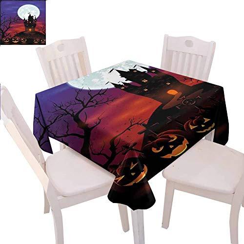 Mantel cuadrado de Halloween impermeable Gótico Haunted House Castle Hill Valley Night Sky October Festival Theme Print Disfrutar de cenar, 70 x 70' Multicolor