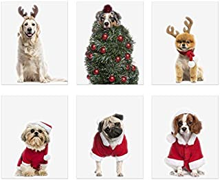 Christmas Dogs Prints - Set of 6 (8x10) Festive Santa Reindeer Tree Costumes Wall Art Decor - Shih Tzu - Australian Shepherd - Pomeranian - Pug - Cavalier King Charles Spaniel - Golden Retriever
