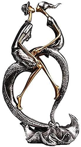Hjiaqi - lovely Romántico Pareja Escultura, cariñoso Hombre y Mujer Apasionado Amor figurilla Estatua Oficina decoración Arte romántico Resina Ornamentos de hogar Plateado