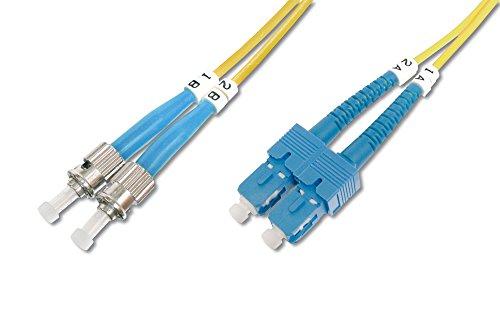 DIGITUS LWL Patch-Kabel OS2 - 2 m ST auf SC Glasfaser-Kabel - LSZH - Duplex Singlemode 09/125µ - 10 GBit/s - Gelb