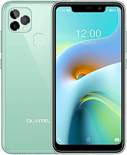 Moviles Libres Baratos,OUKITEL C22 Telefono Movil 4G Android 10 Dual SIM,4GB + 128GB (256GB),Pantalla HD de 5,86 Pulgadas,Batería 4000mAh,Cámara Trasera Triple de 13MP,GPS-Verde