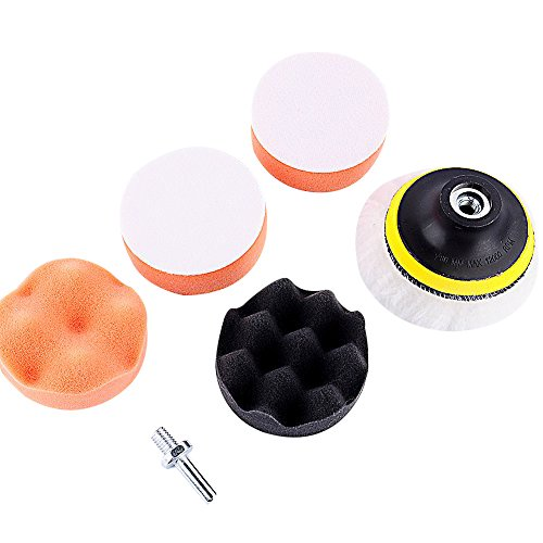 Yosoo 3 Inch Mini High Gross Car Compound Boor Polijsten Buffing Pad Kit voor Auto Auto Polijsten Wiel met Boor Adapter Pack van 6 stks