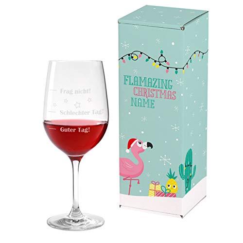Herz & Heim® Leonardo Weinglas XL 610ml - Guter Tag - Schlechter Tag - Frag nicht! - das Stimmungsglas als lustige Geschenkidee 3 - inkl. Gratis personalisierter Weihnachtsverpackung Flamingo