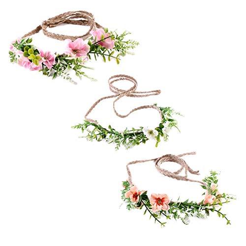 Ever Fairy Tieback Blume Krone Blume Stirnband Baby Mädchen Kleinkind Waldgrün Blatt floral Krone Kranz (3 Stück Farbe einstellen)