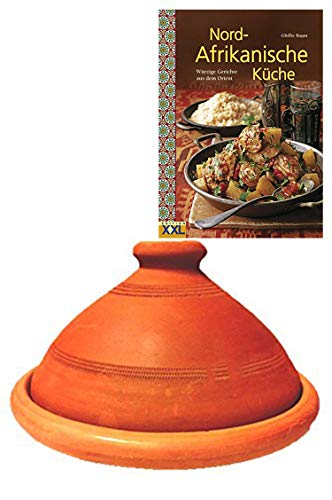 Tajine, original aus Marokko, inklusive Kochbuch Nord Afrikanische Küche, Tontopf zum Kochen, Tuareg Ø 26cm, für 1-3 Personen, handgetöpfert aus Marrakesch, frei von Schadstoffe