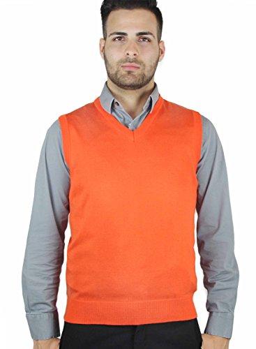 Blue Ocean Solid Color Sweater Vest-3X-Large Orange