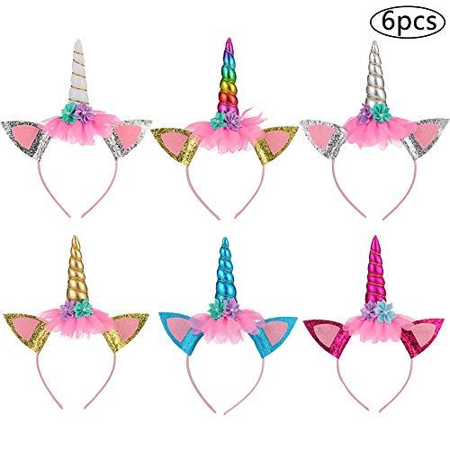 Einhorn Stirnband BESTZY 6PCS Einhorn Haarreif Unicorn Horn Haarreif Haarband Kopfschmuck Blumenmädchen Haarschmuck hüte kindergeburtstag deko Einhorn party kostüm für Ostern Geburtstag Birthday Party