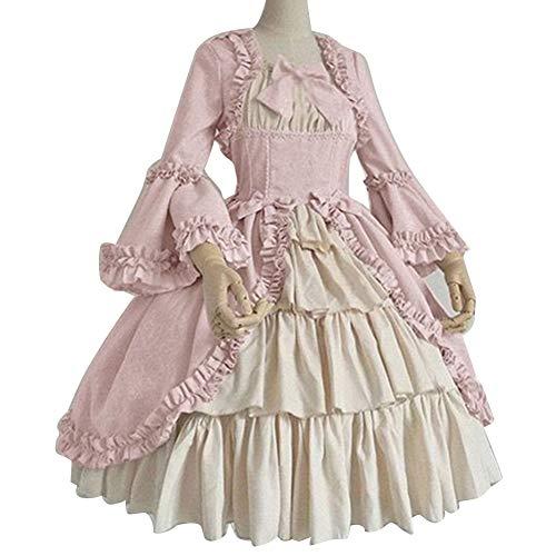 DSJTCH Vestido Retro Medieval Vestido de Corte Retro Dama Real Vestido de Bola Cuadrado Cintura Apretada Cintura Bowknot Mujeres Elegante Disfraz Vestido Ropa muj (Color : Pink, Size : XX-Large)