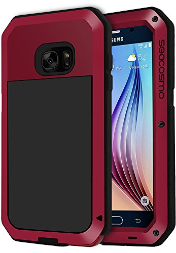 seacosmo Galaxy S6 Case, Shockproof Dustproof Rainproof Military Grade Full Body Protective Case with Tempered Glass Screen Protector Heavy Duty Rugged Drop Resistant Case for Samsung Galaxy S6, Red