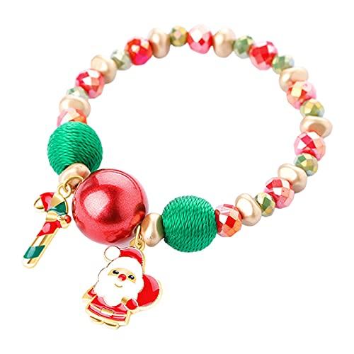 Sharplace Pulsera de Cuentas Navideñas con Colgante Nacarado de Colores Mixtos - Papá Noel