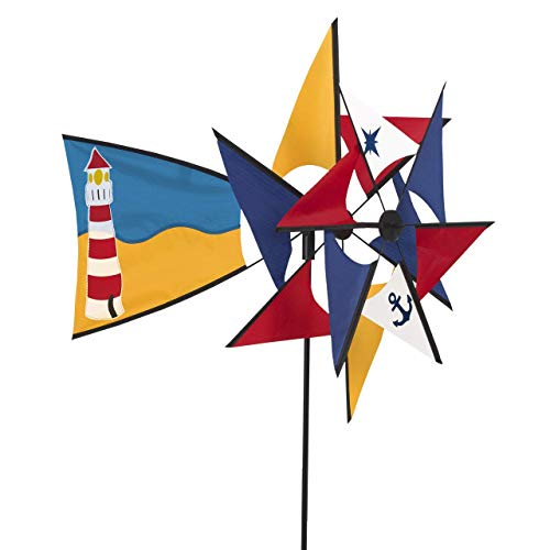 CIM Windspiel - Windmill 66 Lighthouse - UV-beständig und wetterfest - Windräder: Ø47/44cm| Ruder: 40x26cm| Höhe: 110cm - inkl. Fiberglasstab | Garten > Dekoration > Windspiele | CIM