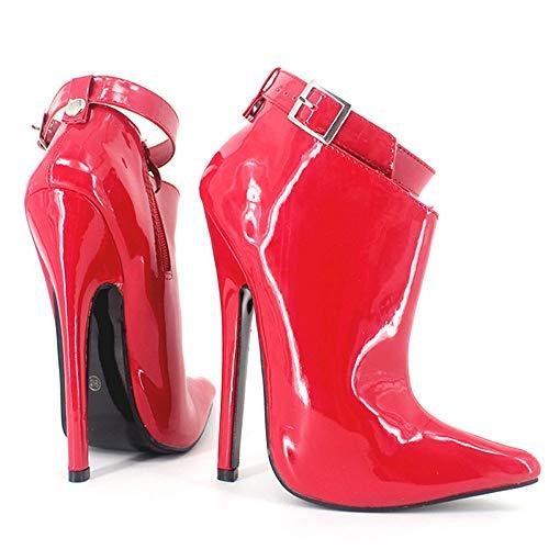 TIKENBST High Heels Fetisch Absätze Extrem High Heels Pumps 18cm Metall Spike Pointed Toe Stiletto Sexy Knöchelriemen Party Tanzschuhe,Red-40