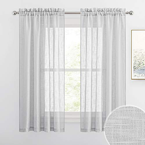 RYB HOME Grey Sheer Curtain Drapes for Bedroom, Soft & Durable Textured Fabric Semi Sheer Curtain Panel for Bedroom Home Office Foyer School Dorm, Dove Grey, Wide 52 x Long 63 per Panel, 1 Pair