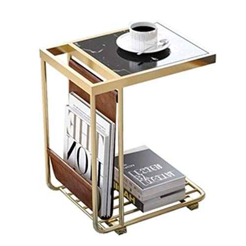 Tables basses Côté Marbre Mini Côté Salon Table De Nuit Créative Fer Forgé Canapé Table Carrée Cadeau (Color : Black, Size : 45 * 33 * 55cm)