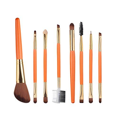 MagiDeal Set 8pcs Pinceau Maquillage Sourcils Eyeliner Blush Poudre Fond de Teint Liquide Brosse de Mélange à Double-tête - Orange