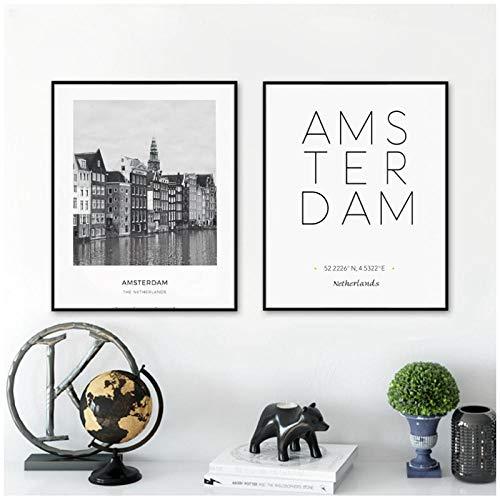 zhaoyangeng Nederland Amsterdam Landschap Foto Canvas Schilderij Wandkunst Foto, Stad Poster Amsterdam Contact Canvas Print - 50X70Cmx2 Oningelijst