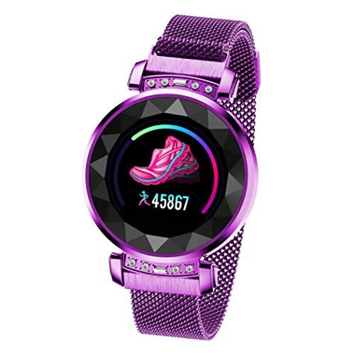 Intelligentes Armband für Frauen Smartwatch mit Herzfrequenz Blutdruckmonitor IP68 wasserdicht Farbbildschirm Schrittzähler Fitness-Armband zum Reiten Laufen Geschenk,Purple