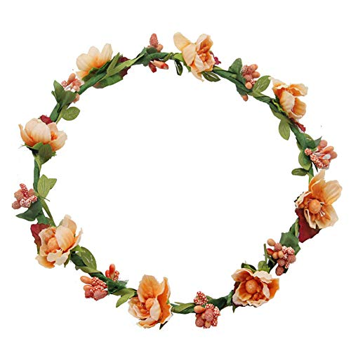 Haarband voor bruiloft, kroon, vrouwen, meisjes, bloemenkroon, bruiloft, festival, party, accessoire, Oranje