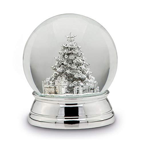 H.Bauer jun. kleine versilberte Glas Schneekugel mit Tannenbaum Ø 10 cm - Winter-Weihnachts-Deko