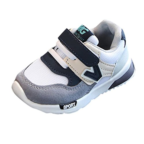 Moonker Toddler Boys Girls Athletic Sneakers Kid Outdoor Mesh Strap Light Weight Sport Running Walking Shoes 0-9Years (2-3 Years Old, Gray)