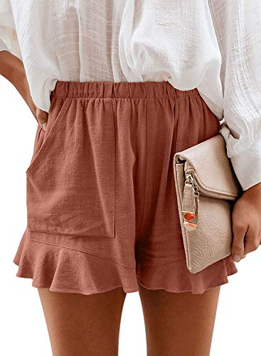 Mosucoirl Women Comfy Drawstring Casual Elastic Waist Pure Color Shorts Summer Beach Lightweight Short Pants with Pockets(2 Brick red,Small)