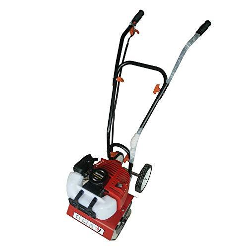 Benzin Ackerfräse 52CC 2 PS Radantrieb Motorhacke Gartenfräse 1,5 kW (Rot)