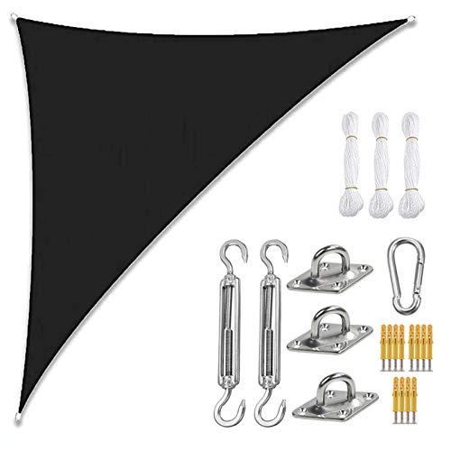 THJ Toldo de vela con protección UV, impermeable, para patio, jardín con cuerdas, triángulo derecho (3 x 4 x 5 m), color negro
