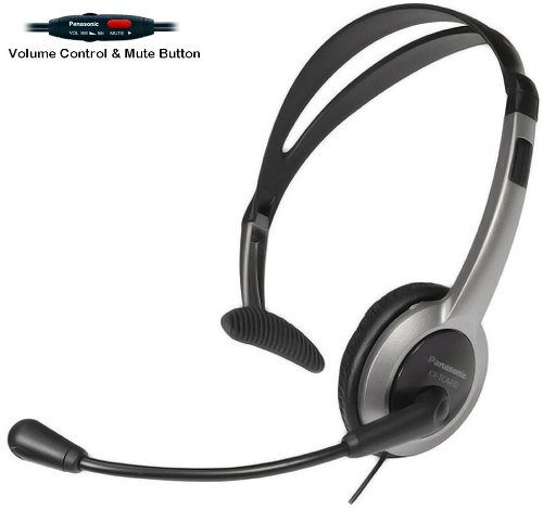 Panasonic Hands-Free Headset with Foldable Comfort Fit Lightweight Headband & Flexible Optimum Voice Microphone with Volume Control & Mute Switch For The Panasonic KX-TGA101S - KX-TGA101B - KX-TGA300S & KX-TGA300B Cordless Phone Accessory Handset