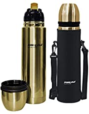 Pinnacle Palladium Vacuum Flask (SS304) with Flip Lid; Stainless Steel Thermos, Leak Proof, 24 Hours Hot/Cold Insulation (Gold, 1000 ml)