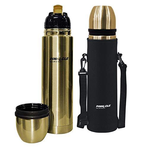 Pinnacle Stainless Steel Vacuum Flask Bottle with Flip Lid - Palladium Gold, 1L