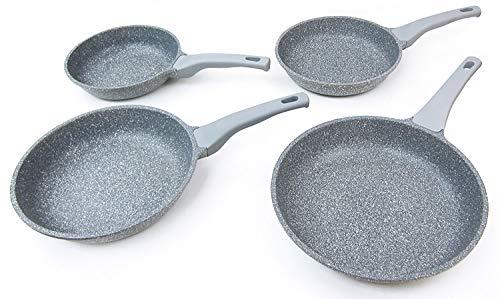 MovilCom - Juego de sartenes de 20-24-26-28cm antiadherente de aluminio fundido, revestimiento de piedra, apta para todo tipo de cocinas. Mango ergonómico y apilable, color Gris