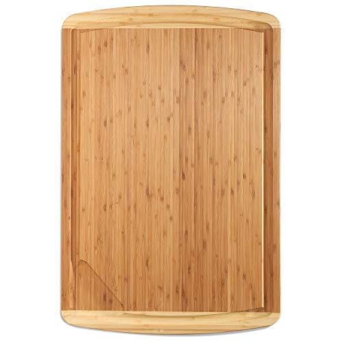 XXXL Extra Large Wood Butcher Block Cutting Board for Carving Turkey - 30 x 20 x 0.75 Inch Wooden Chopping Block - Over the Sink Bamboo Cutting Boards for Kitchen - Serving Board Tray and Platter