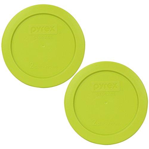 Pyrex 7200-PC 2 Cup Edamame Green Round Plastic Lid (2, Edamame Green)