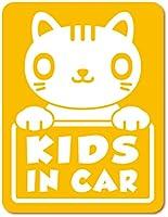 imoninn KIDS in car ステッカー 【マグネットタイプ】 No.24 ねこさん (黄色)