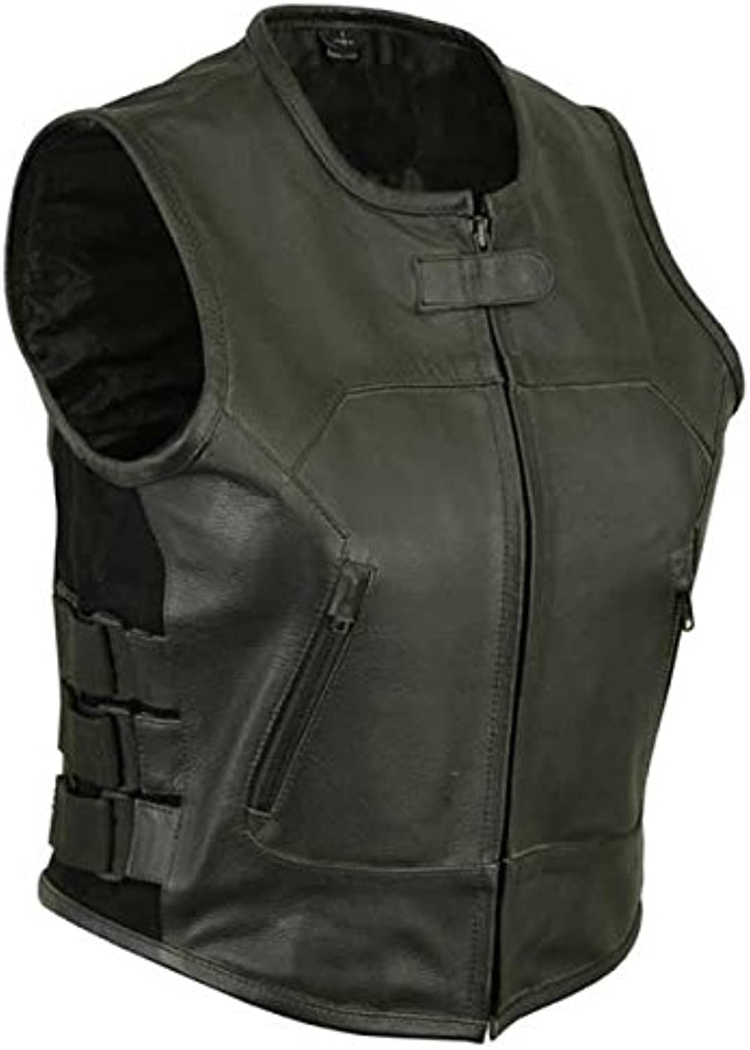 Bison Apparel DS2002XL Women's Updated Black Leather Club Vest  2XL