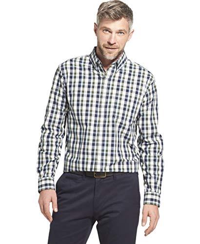 Arrow 1851 Men's Hamilton Poplin Long Sleeve Button Down Plaid Shirt, Navy Blazer, XX-Large