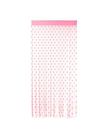 Fadenvorhang Türvorhang Fadengardine mit 480 Strings und Schlaufe pink Herz Design Vorhang Raumteiler Gardine