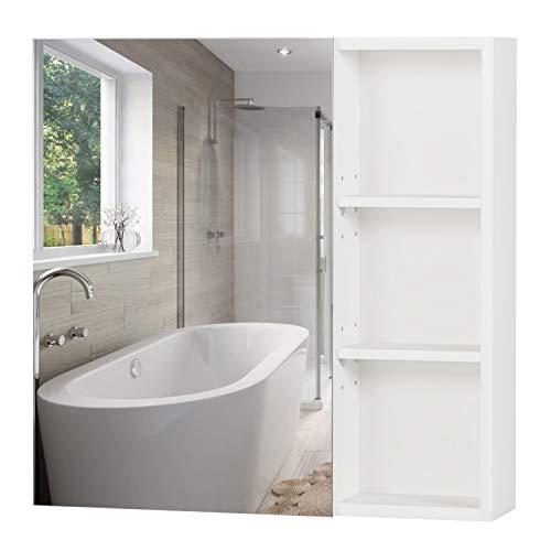 Homfa Spiegelschrank Wandspiegel Badezimmerspiegel Hängeschrank Badschrank Wandschrank Spiegel mit 3 öffenen Ablagen verstellbaren Einlegeböden Holz Weiß 60x60x13.5cm