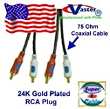 10 Ft MPC-2 Cable RCA Audiol Cable, 24K S/PDIF Subwoofer Speaker Coaxial Audio Cable