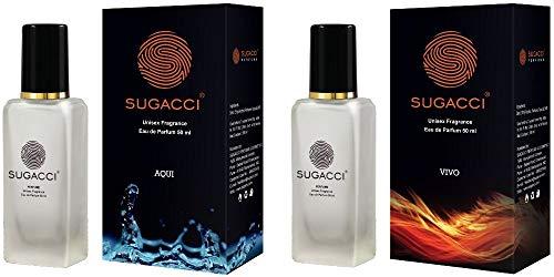 Sugacci Vivo Aqui Combo - Perfumes for Man and Woman - Eau de Parfum - 10 x More Perfume than Deo - 50ML x 2