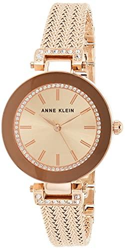 Anne Klein Women's Premium Crystal Accented Rose Gold-Tone Mesh...