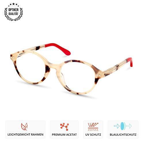 Kinder Brille Blaulichtschutz Blaulichtfilter ohne Sehstärke UV400 Schutz Unisex für Jungen und Mädchen Robust - auswechselbare Gläser - Modell Bear in Amber Rot
