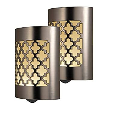 GE CoverLite LED Night Light, 2 Pack, Plug-In, Dusk-to-Dawn Sensor, Home Décor, Ideal for Kitchen Bathroom, Nursery, Bedroom, Hallway, 46815, Brushed Nickel | Moroccan, 2