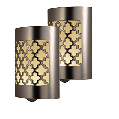 GE CoverLite LED Night Light, 2 Pack, Plug-In, Dusk-to-Dawn Sensor, Home Dcor, Ideal for Kitchen Bathroom, Nursery, Bedroom, Hallway, 46815, Brushed Nickel | Moroccan, 2