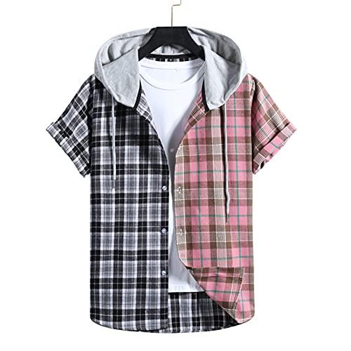 SSBZYES Herrenhemd Sommer Kurzarmhemd Kapuzenhemd Lässige Kapuzenheftung Farbabstimmung Plaid Kurzarmhemd Hoodie