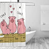 BONIPE 3 lustige süße Schweine-Duschvorhang, wasserdicht, Polyester, 152,4 x 182,9 cm, schimmelresistent für Zuhause, Badezimmer, Dekoration mit 12 Haken