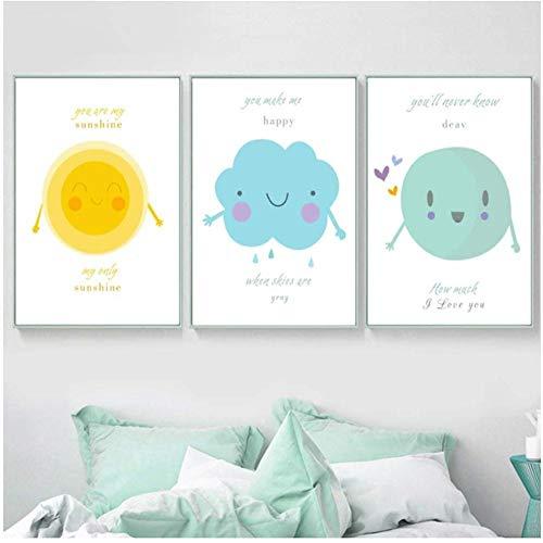 ZAWAGU 3 Stück Set Leinwand Malerei Wandkunst Cartoon Sonnenschein Wolke Regentropfen Wandkunst Poster und Drucke Wandbilder Baby Kinderzimmer Dekor