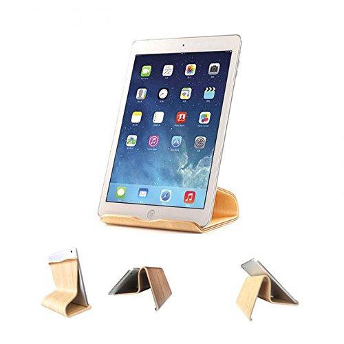 Tablet Ständer aus Holz Universal Tisch Halter für Smartphone, iPhone, iPad, E-Reader und mehr Birke Hellbraun