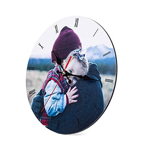 Orologio da Parete con Foto Personalizzato con 1-12 Immagini Legno Orologio da Muro per Regalo Decorativo Anniversario Matrimonio Compleanno Della Madre Famiglia (1 Photo)